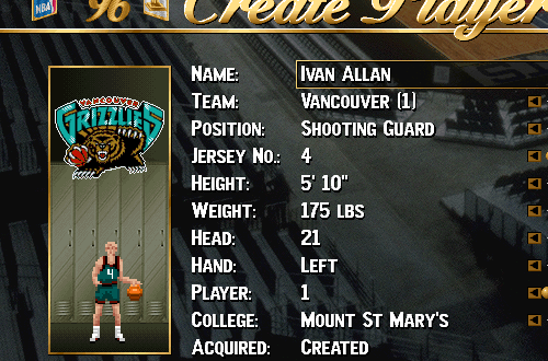 Ivan Allan in NBA Live 96 (Unlocking Developers)