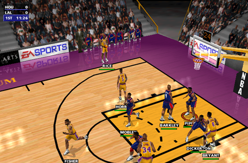Classic Isometric Cam in NBA Live 99 (Rockets vs Lakers)