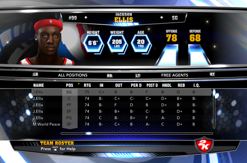 Jackson Ellis in the PC version of NBA 2K14