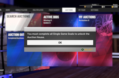 Auction House Locked in NBA 2K19