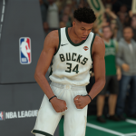 Giannis Antetokounmpo celebrating in NBA 2K19