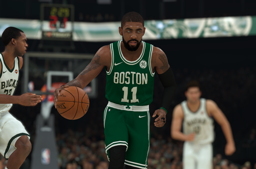 Kyrie Irving dribbles the basketball in NBA 2K19