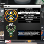 Options for Simulated Games in MyLEAGUE (NBA 2K19)