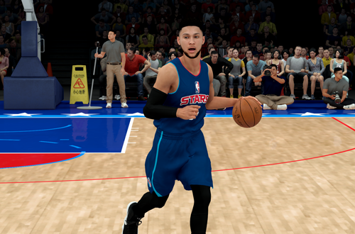 Ben Simmons dribbles the basketball in NBA 2K19 The Prelude