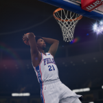 Joel Embiid dunks the basketball in NBA Live 19