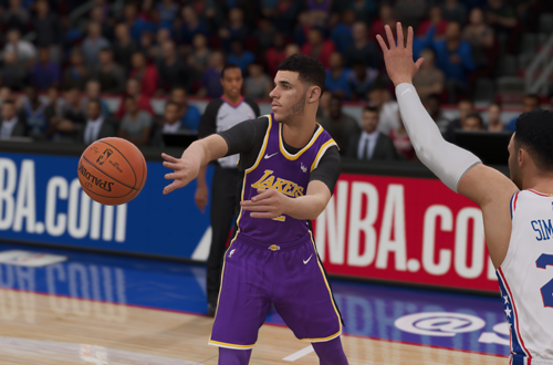 Lonzo Ball passes the basketball in NBA Live 19