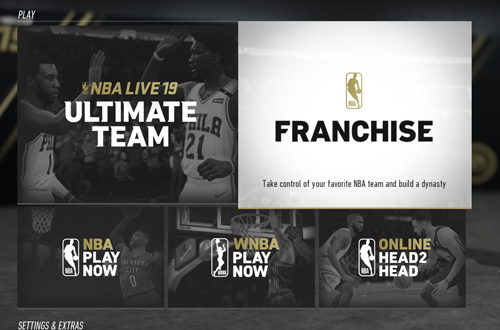 The Main Menu in NBA Live 19