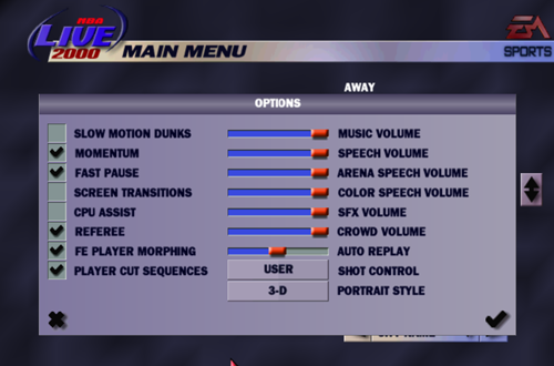 NBA Live 2000 Options Menu