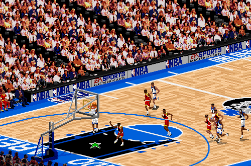 Shaq dunking in NBA Live 95