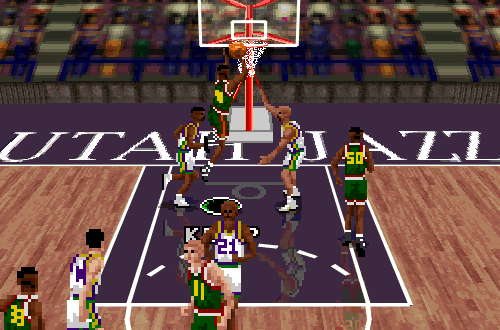 Shawn Kemp dunks in NBA Live 96