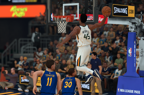 Donovan Mitchell dunks in NBA 2K19