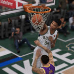 Giannis Antetokounmpo dunks in NBA Live 19