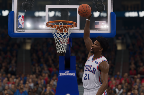 Joel Embiid dunks in NBA Live 19