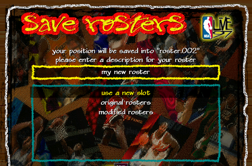 Roster Saves in NBA Live 97