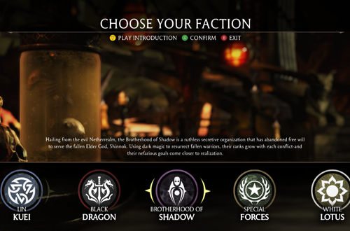 Choose Your Faction in Mortal Kombat X
