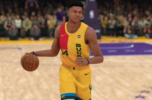 Giannis Antetokounmpo in NBA 2K19 (Bucks City Uniform)