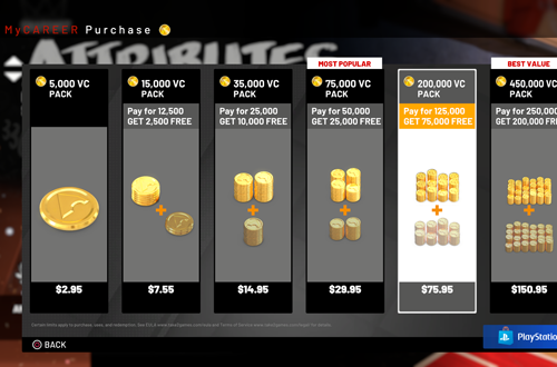 Virtual Currency Prices in NBA 2K19 (MyCAREER)