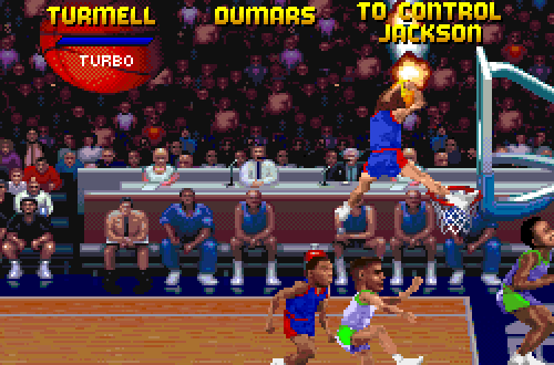 Developer Mark Turmell dunks in NBA Jam Tournament Edition