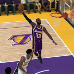 LeBron James dunks in NBA 2K19