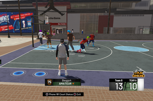 Waiting to play with randoms in The Playground (NBA 2K19)