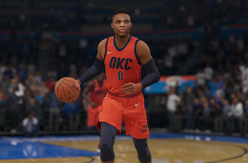 Russell Westbrook wearing an Earned jersey in NBA Live 19