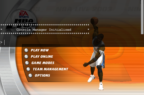 Dev Console in the Main Menu (NBA Live 2003)