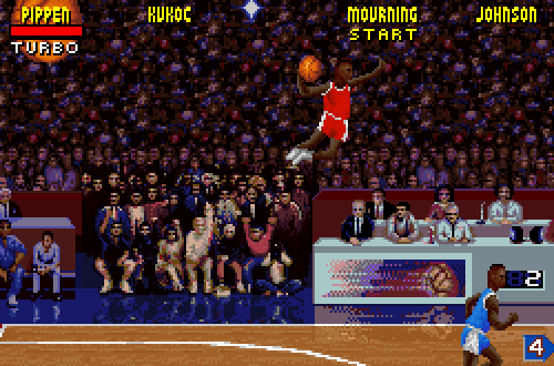 Dunk from Anywhere in NBA Jam Tournament Edition (SNES)