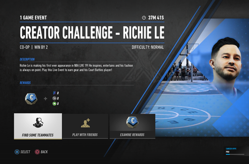 Richie Le Creator Challenge Event in NBA Live 19