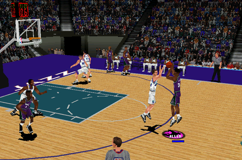 Cover player Ray Allen shoots in NBA Inside Drive 2000