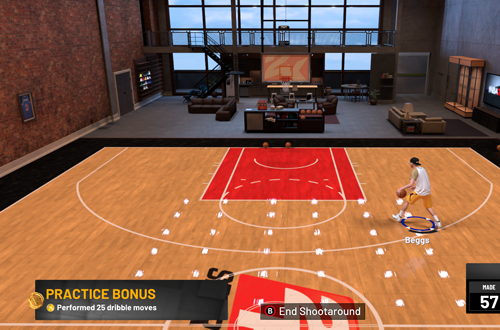 Practice Bonus on MyCOURT in MyCAREER (NBA 2K19)