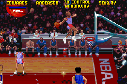 Kevin Edwards dunks in NBA Jam TE PC