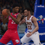 Joel Embiid posts up in NBA Live 19