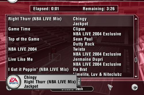 Music in NBA Live 2004