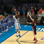 Kevin Durant shoots over Nicolas Batum (NBA 2K14)