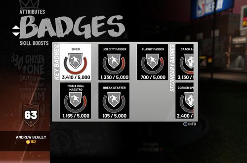 Early Badge Progress in MyCAREER (NBA 2K19)