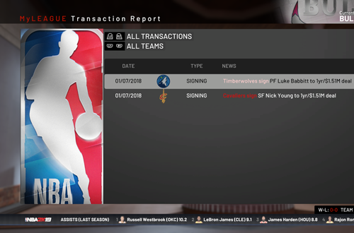 Transactions Listing in MyLEAGUE (NBA 2K19)