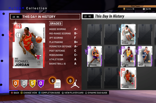 Card Collection in MyTEAM (NBA 2K19)
