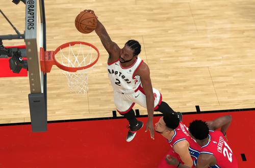 Kawhi Leonard dunks in NBA 2K19