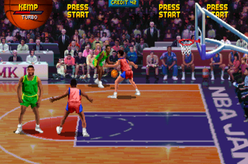 Shawn Kemp dribbles the basketball