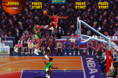 Scottie Pippen dunks in NBA Jam (Arcade)