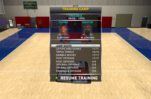 Training Camp Menu in NBA 2K12