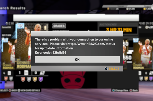 Connection Error in MyTEAM (NBA 2K19)