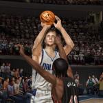 Dirk Nowitzki shoots a three-pointer in NBA Live 07