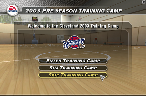 Training Camp Options in NBA Live 2004