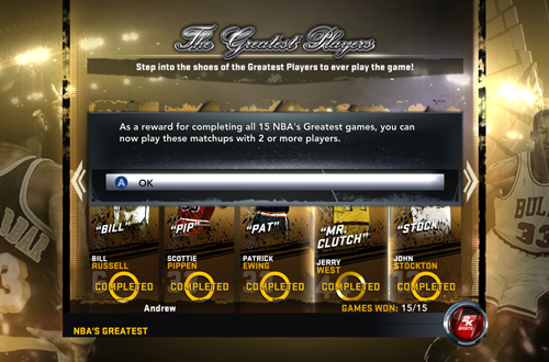 A Retro Mode Needs Adequate Incentives (NBA 2K12 NBA's Greatest)