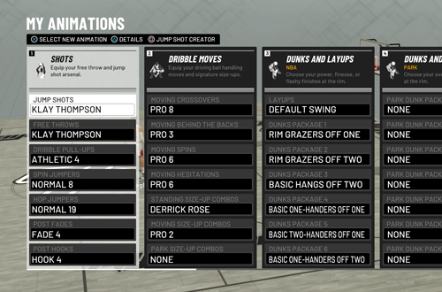 My Animations Menu in MyCAREER (NBA 2K19)