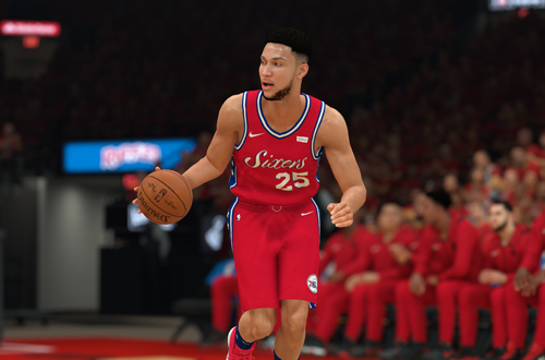 Ben Simmons dribbles the basketball in NBA 2K19