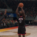 James Harden shoots in NBA Live 19