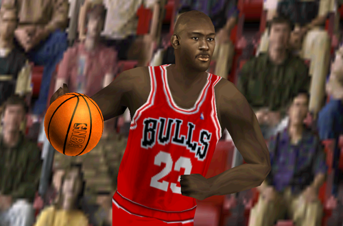 Michael Jordan on the Bulls in NBA Live 2000