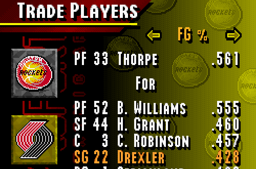 Trading in Season Mode (NBA Live 95 SNES)